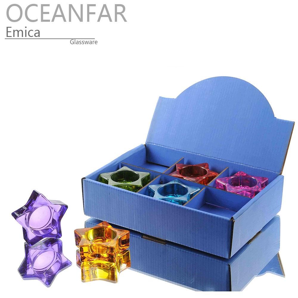 五角星形状的彩色的玻璃茶蜡台