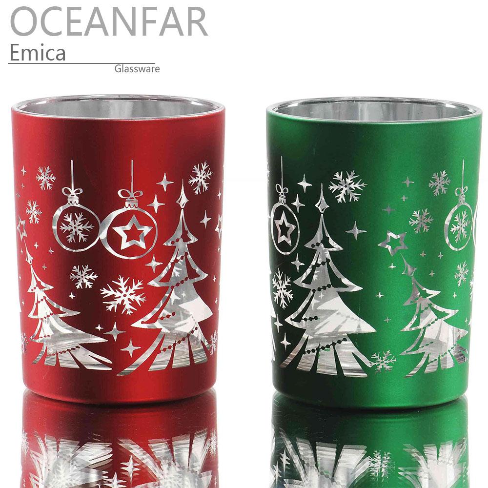 圣诞树烤花电镀玻璃茶蜡台