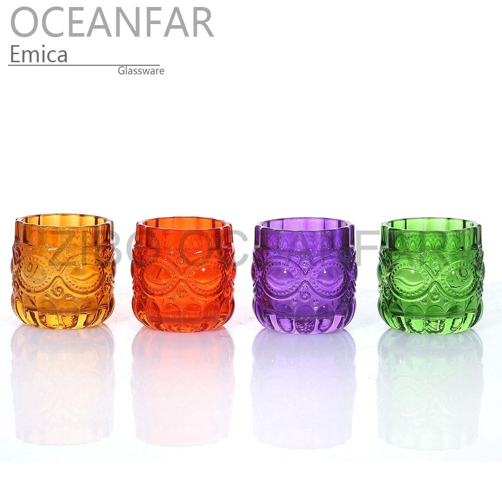 猫头鹰形状多彩的玻璃茶蜡台