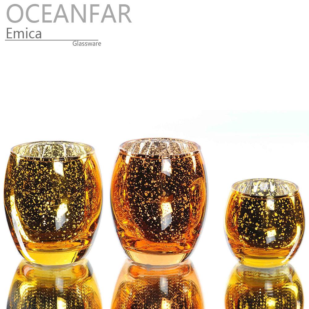 香槟色电镀蛋形玻璃茶蜡台