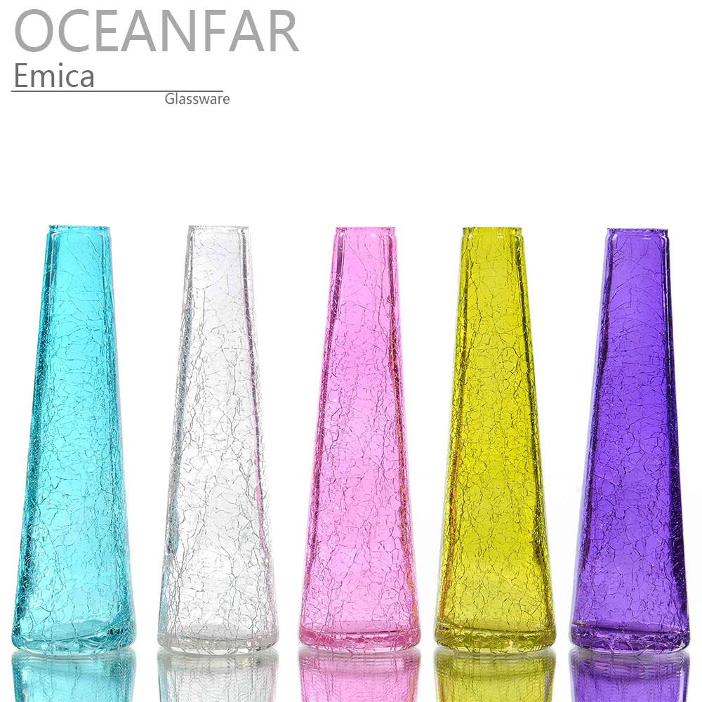 锥形冰花喷色玻璃花瓶