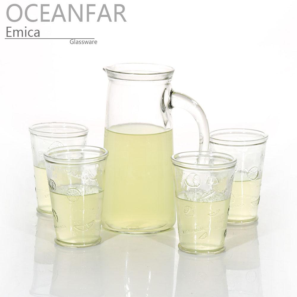 五件套带有把手和浮雕图案的饮料玻璃水瓶