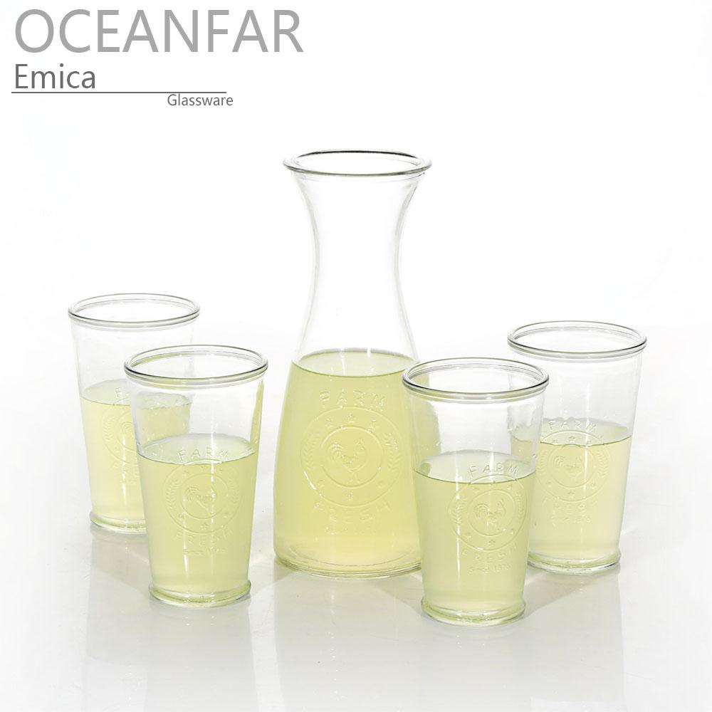 五件套带有浮雕图案玻璃饮料水杯