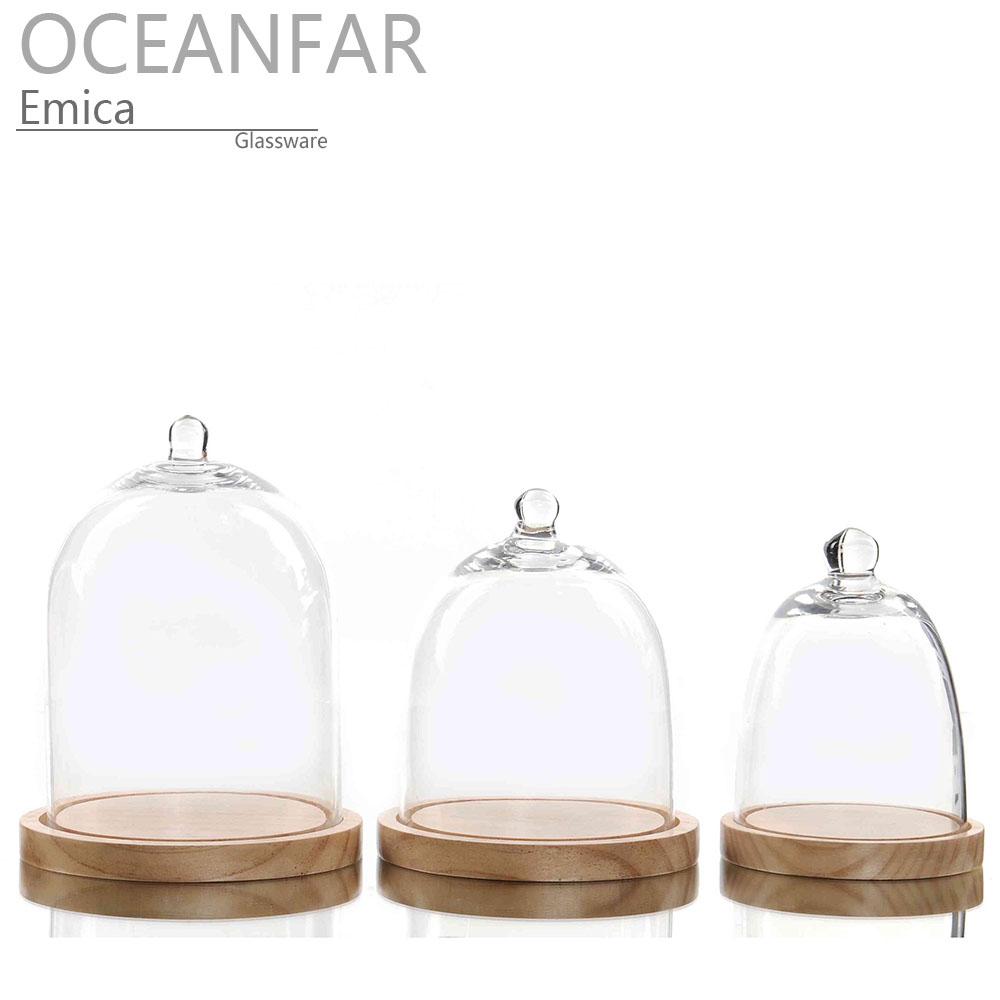手工制作的透明玻璃圆顶钟形与木底座